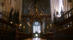 Cathedral nave, choirstalls and roof. Stock Footage
