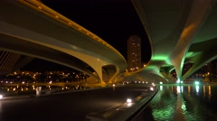A futuristic highway overpass in Valencia, Spain. - stock footage