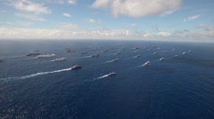Aerial video of fleet of  warships during Rim of the Pacific Exercise 2014. Stock Footage