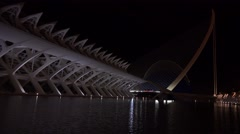 The futuristic architecture of Valencia, Spain, night. Stock Footage