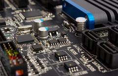 Electronic collection - digital components on computer mainboard Stock Photos