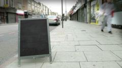 Blackboard Store Sign - stock footage
