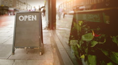 Blackboard Open Store Sign Stock Footage