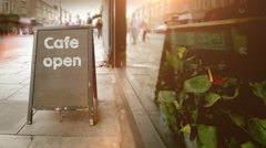 Cafe Blackboard Store Sign - stock footage
