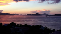 The view of a sunset on a boat in the Virgin Islands Stock Footage