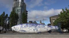 Mosaic ceramic sculpture, the big fish, belfast, northern ireland Stock Footage