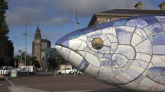 Close up of head, mosaic ceramic sculpture, the big fish, belfast, northern i Stock Footage