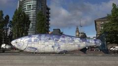 Albert memorial clock, big fish sculpture, belfast, northern ireland Stock Footage