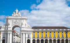 Rua Augusta Arch in Lisbon Stock Photos