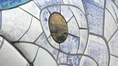 Eye, mosaic ceramic sculpture, the big fish, belfast, northern ireland Stock Footage