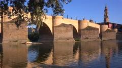 A classic and beautiful stone bridge in Zaragoza, Spain. Stock Footage