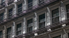 Shadow pattern on classic NY apartment building, close Stock Footage