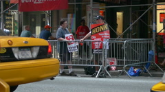 Strikers with sign HONK on NYC streets Stock Footage