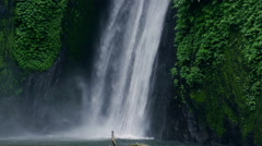 View of beautiful waterfall in tropical zone, slow motion shot at 120fps Stock Footage