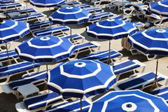 Mediterranean beach during hot summer day Stock Photos