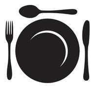 Restaurant Menu Plate Fork and Knife - stock illustration