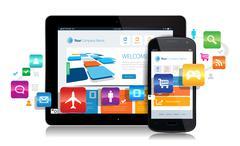 Smartphone Tablet Apps - stock illustration