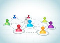 Social Network Relations Vector Grid - stock illustration