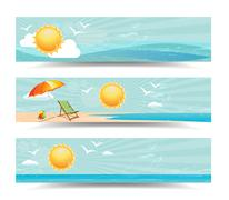 Summer Header Vector Banners Stock Illustration