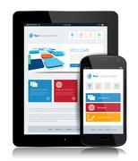 Tablet internet technology - stock illustration