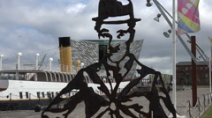 Charlie chaplin, titanic belfast visitor centre, northern ireland Stock Footage