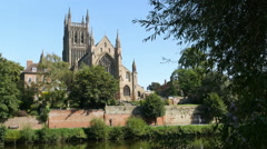 Worcester Cathedral by the River Severn in the English Midlands. Stock Footage