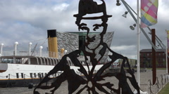 Metal cut-out of charlie chaplin, titanic belfast visitor centre Stock Footage