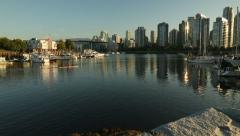 Granville Island Marina and Kayak dolly shot, Vancouver Stock Footage