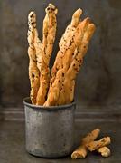 rustic italian grissini breadstick - stock photo