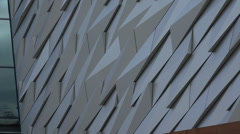 Zoom out from titanic belfast visitor centre, northern ireland Stock Footage