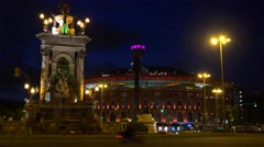A roundabout in central Barcelona Spain. Stock Footage