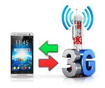 3G wireless communication concept - stock illustration