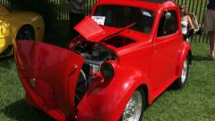 Vintage red FIAT Topolino at car show in Canada Stock Footage