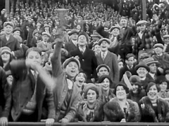 Football Fans In Stadium Waving - 1920's Stock Footage
