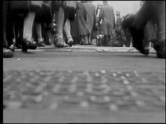 Ground Shot Of Feet And Cars Moving By 1920's Stock Footage