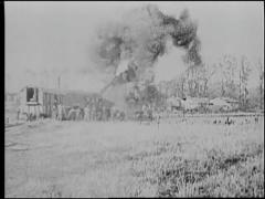 Large Cannon Firing - World War 1 - stock footage