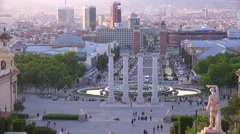 Downtown Barcelona, Spain is seen from the steps of the National palace. Stock Footage