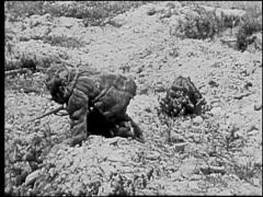 Troops Crawling On Ground - World War 1 Stock Footage