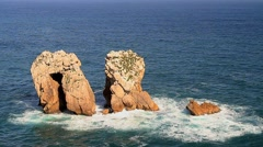 Rock formations in the Cantabrian Sea Stock Footage