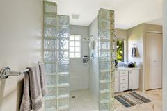 shower with glass block trim - stock photo