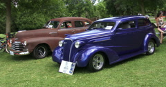 Old vintage cars at car show in Canada Stock Footage