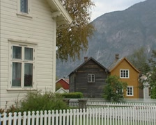 LAERDAL old village centre with well preserved wooden houses from 1700 - 1800 - stock footage
