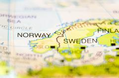 norway country on map - stock photo