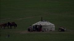 Mongolia Plains Huts Stock Footage