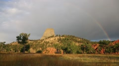 Rainbow Over Devils Tower, Wyoming Stock Footage