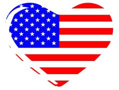 Stock Illustration of stars and stripes heart