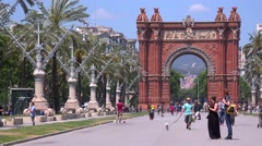 The Arc De Triumph of Barcelona, Spain. Stock Footage