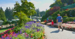 4K Path and Flowers, Cafe at Butchart Gardens, Victoria Stock Footage