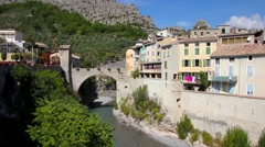 The medieval city of Entrevaux, France Stock Footage