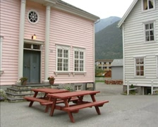 LAERDAL ld village centre with well preserved wooden houses + pan street Stock Footage